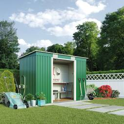 Light Green Waltons Pent 8.6 x 6ft Metal Shed