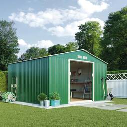 Light Green Waltons Apex 9.1 x 8.4ft Metal Shed