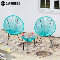 Garden Life Leon String Bistro Set  Aqua Blue with cover