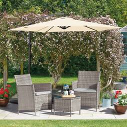 Seville Rattan Garden Bistro Set  Snow Grey with Spare Cushion Covers and Cover
