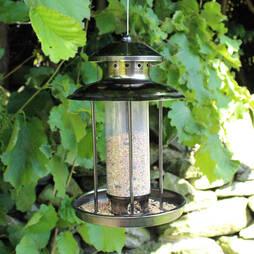 Kingfisher Pewter Effect Lantern Seed Feeder