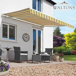 Easy Fit Garden Awning 250cm x 200cm Yellow/Grey Stripe