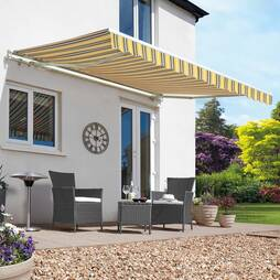 Easy Fit Garden Awning 350cm x 250cm Yellow/Grey Stripe