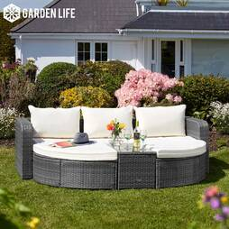 Firenze Rattan Day Bed  Dark Grey