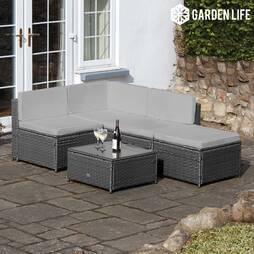 Garden Life Milan Rattan Lounge Sofa Set  Grey