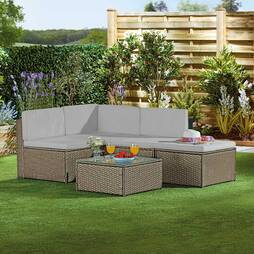 Garden Gear Milan Rattan Lounge Sofa Set  Snow Grey