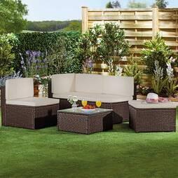 Garden Gear Milan Rattan Lounge Sofa Set  Brown