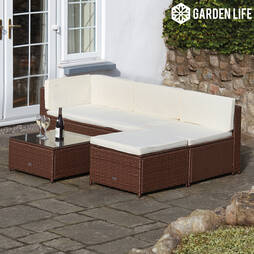 Garden Life Milan Rattan Lounge Sofa Set  Cusion Covers  Grey