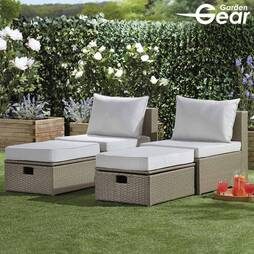 Garden Life Napoli Rattan Lounge Set  Grey Cushion Covers