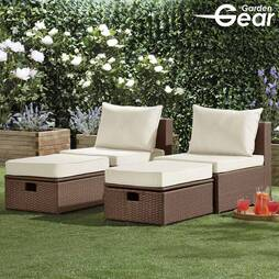 Garden Life Napoli Rattan Lounge Set  Brown