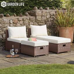 Garden Life Napoli Rattan Lounge Set  Brown