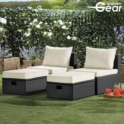 Garden Life Napoli Rattan Lounge Set  Black
