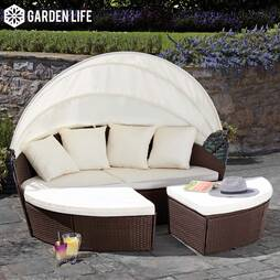 Garden Life Rattan Daybed 160cm  Brown With Cover
