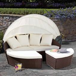 Garden Gear Rattan 210cm Daybed with Cover  Brown