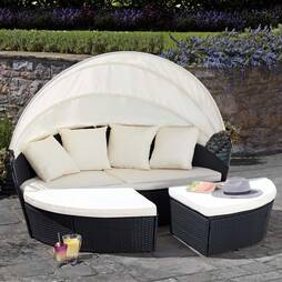 Garden Gear Rattan 210cm Daybed with Cover  Black
