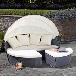 Garden Gear Rattan 210cm Daybed with Cover  Grey