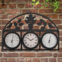 Garden Clock and Weather Station  Black  L50 x W34 x H4.5cm