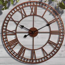 Roman Numeral Garden Wall Clock  Black and Gold