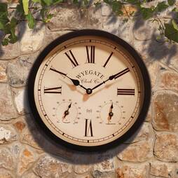 Radio Controlled ThreeinOne Garden Wall Clock  Black