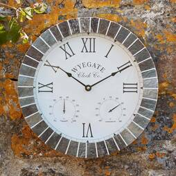 Wyegate Slate Effect Outdoor Clock with Thermometer and Hygrometer