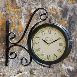 Wyegate Dualsided Swirl Garden Clock and Thermometer