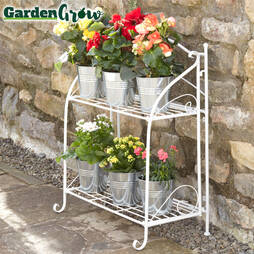 Twotier Wire Shelf Folding Metal Plant Stand  Cream