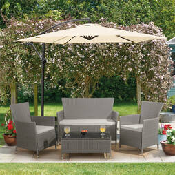 St Lucia Rattan Garden Lounge Set  Snow Grey