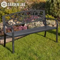 Garden Life Henley Metal Garden Bench  Black