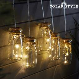 Solar Style Hanging Jar String Lights