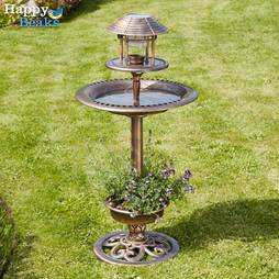 Happy Beaks Bird Hotel with Solar Light  Bronze