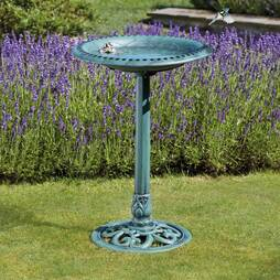 Happy Beaks Bird Bath   Bronze