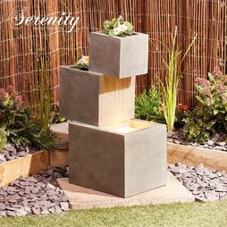 Serenity Cascade water feature with planters