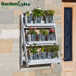 Garden Grow ThreeTier Folding Plant Stand  Light grey  Large