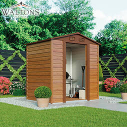 Waltons Premium Woodeffect 5ft x 6ft Apex Metal Shed with Foundation Kit