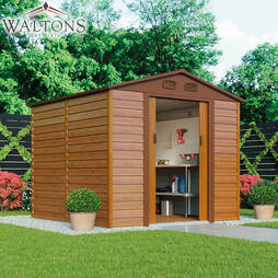 Waltons Premium Woodeffect Apex 7.9ft x 7.8ft Metal Shed with Foundation Kit