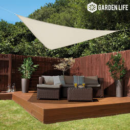 Garden Life 3Metre Triangle Waterproof Sun Shade Sail  Triangle Fixing Kit