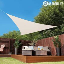 Garden Life 3.6Metre Triangle Waterproof Sun Shade Sail  Cream