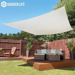Garden Life 3Metre Square Waterproof Sun Shade Sail  Cream