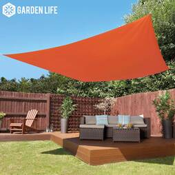 Garden Life 3Metre Square Waterproof Sun Shade Sail  Terracotta