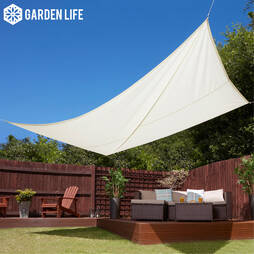 Garden Life 3x4m Rectangle Waterproof Sun Shade Sail  Cream