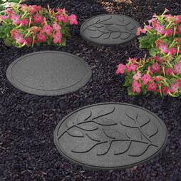 Reversible EcoFriendly Stepping Stone Leaves  4 Pack  Grey
