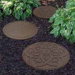 Reversible EcoFriendly Stepping Stone Scroll  12 Pack  Grey