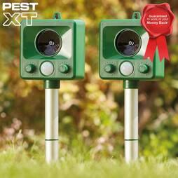 Pest XT Ultrasonic Battery Powered Cat Repeller  Twin Pack