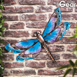 Garden Gear Metal and Glass Dragonfly Wall Art