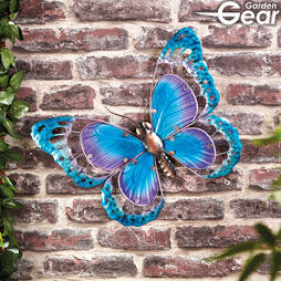 Garden Gear Metal and Glass Butterfly Wall Art  Blue