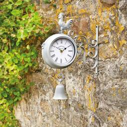Wall Mounted Metal Rooster Clock  Pale Grey