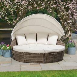 Rattan Day Beds with Covers  180cm  Tonal Grey