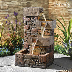 Serenity Cubic Cascading Pebble Wall Water Feature