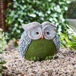 Flocked Effect Garden Ornament  Owl