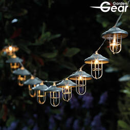 Garden Gear Vintage Metal Lantern Solar String Lights with 10 LEDs